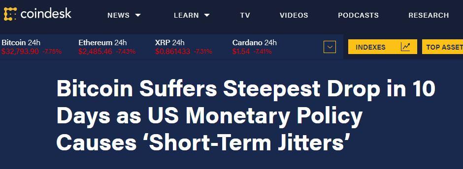 Bitcoin suffers steepest drop