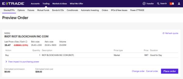 ETrade preview order screen.