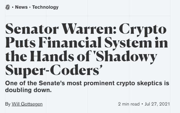 Senator warren article about cryptocurrencies