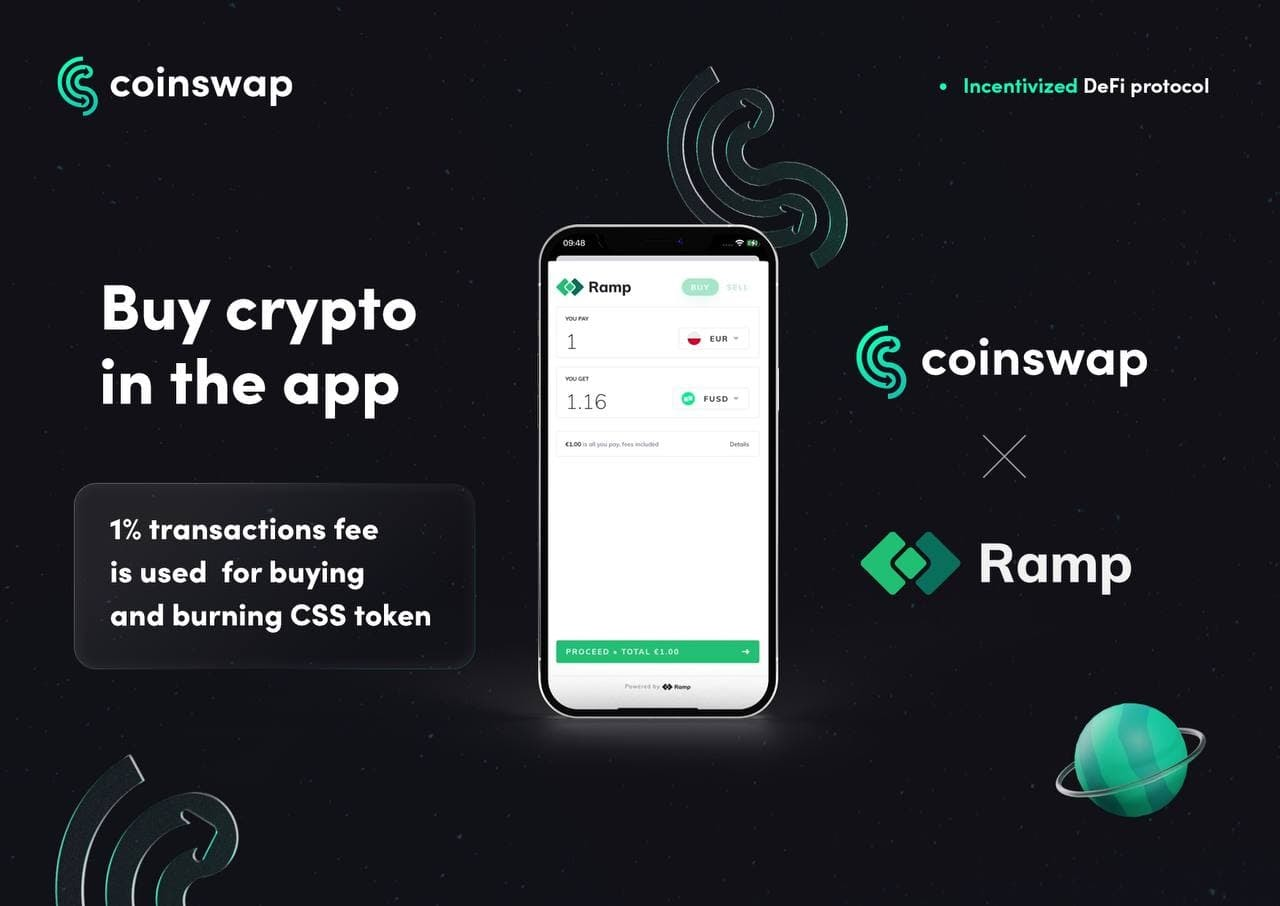 CoinSwap Space first DEX to provide crypto purchases directly onto any non-custodial wallet via Ramp Network