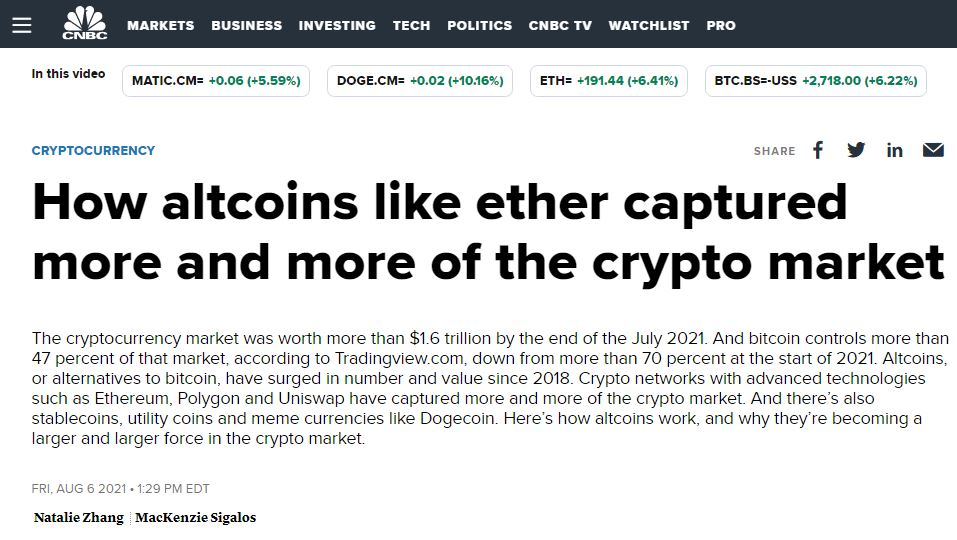 How altcoins like ether captured crypto market